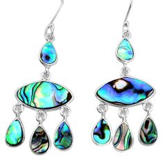 15.08cts natural abalone paua seashell 925 silver chandelier earrings p31203