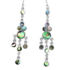 14.43cts natural green abalone paua seashell silver chandelier earrings p31206