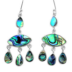 15.05cts natural green abalone paua seashell silver chandelier earrings p31210