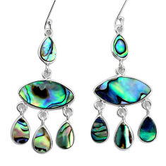 15.22cts natural green abalone paua seashell silver chandelier earrings p31216