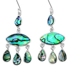 14.23cts natural green abalone paua seashell silver chandelier earrings p31220