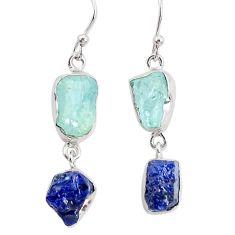 925 silver 14.40cts natural sapphire rough aquamarine rough earrings p31485