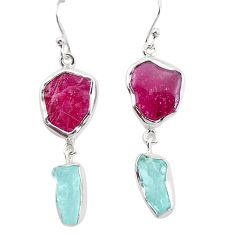 17.18cts natural pink ruby rough aquamarine rough 925 silver earrings p31486