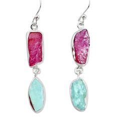925 silver 14.88cts natural pink ruby rough aquamarine rough earrings p31492