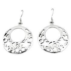 Indonesian bali style solid 925 sterling plain silver dangle earrings p3936