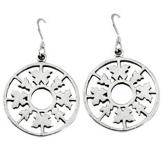 Indonesian bali style solid 925 silver dangle snowflake earrings jewelry p3937