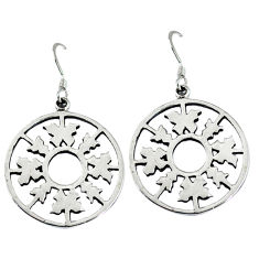 Indonesian bali style solid 925 sterling silver dangle snowflake earrings p3938