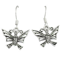 Indonesian bali style solid 925 sterling silver butterfly earrings jewelry p3945