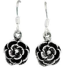 Indonesian bali style solid 925 sterling silver flower earrings jewelry p3946