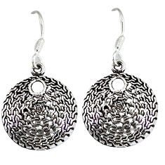 Indonesian bali style solid 925 sterling silver circle of love earrings p3954