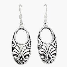 Indonesian bali style solid 925 sterling plain silver dangle earrings p3958