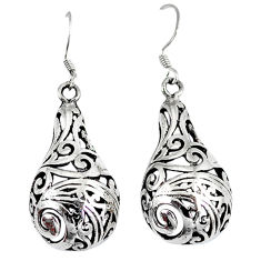 Indonesian bali style solid 925 sterling plain silver dangle earrings p4001
