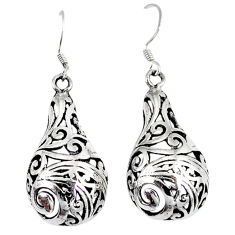 Indonesian bali style solid 925 sterling plain silver dangle earrings p4002
