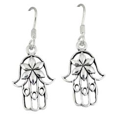 Indonesian bali style solid 925 silver hand of god hamsa earrings p4006