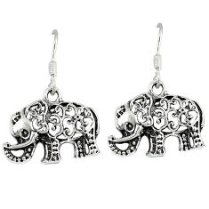 Indonesian bali style solid 925 sterling silver elephant earrings jewelry p4013