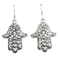 Indonesian bali style solid 925 silver hand of god hamsa earrings p4026
