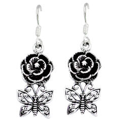 Indonesian bali style solid 925 silver flower with butterfly earrings p4030