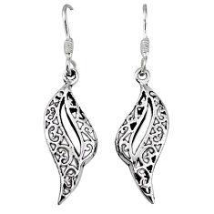 Indonesian bali style solid 925 sterling plain silver dangle earrings p4033