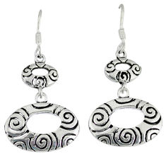 5.96gms indonesian bali style solid 925 sterling silver dangle earrings p4044
