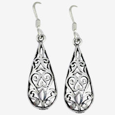 4.39gms indonesian bali style solid 925 sterling silver dangle earrings p4053