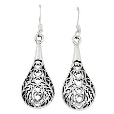 4.05gms indonesian bali style solid 925 sterling silver dangle earrings p4056
