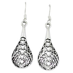 3.89gms indonesian bali style solid 925 sterling silver dangle earrings p4057