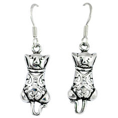 4.16gms indonesian bali style solid 925 sterling silver cat earrings p4073