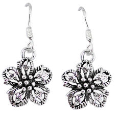 4.19gms indonesian bali style solid 925 sterling silver flower earrings p4078