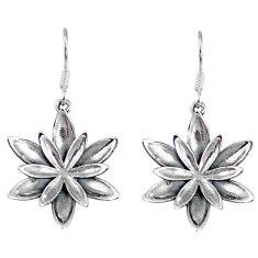 6.17gms indonesian bali style solid 925 sterling silver flower earrings p4088