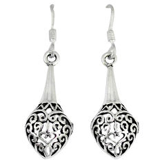 4.79gms indonesian bali style solid 925 sterling silver dangle earrings p4089