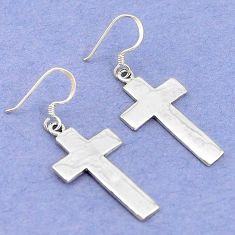 5.78gms indonesian bali style solid 925 silver holy cross earrings p4105