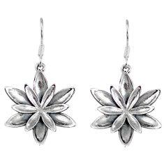 5.89gms indonesian bali style solid 925 sterling silver flower earrings p4106