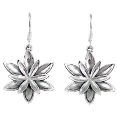 6.64gms indonesian bali style solid 925 sterling silver flower earrings p4107