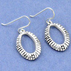 2.18gms indonesian bali style solid 925 sterling silver dangle earrings p4127