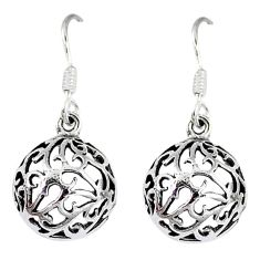 4.32gms indonesian bali style solid 925 sterling silver dangle earrings p4220