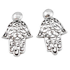 4.18gms indonesian bali style solid 925 silver hand of god hamsa earrings p4331