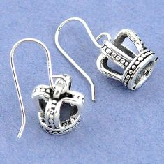 3.42gms indonesian bali style solid 925 sterling silver dangle earrings p4358