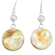 41.70cts natural white pearl pearl 925 sterling silver dangle earrings p5442