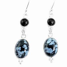 14.30cts natural black australian obsidian onyx 925 silver dangle earrings p5468