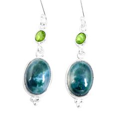 12.90cts natural green moss agate peridot 925 silver dangle earrings p5477