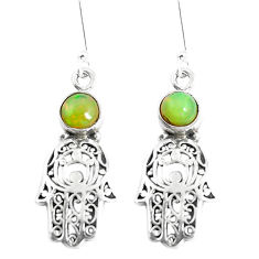 2.46cts natural ethiopian opal 925 silver hand of god hamsa earrings p5489