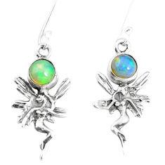 2.92cts natural ethiopian opal 925 silver angel wings fairy earrings p5492