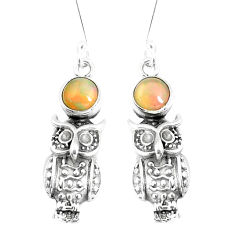 2.62cts natural multi color ethiopian opal 925 silver owl earrings p5494