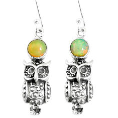 925 silver 2.62cts natural multi color ethiopian opal owl earrings jewelry p5497