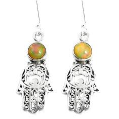 2.46cts natural ethiopian opal 925 silver hand of god hamsa earrings p5498