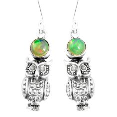 925 silver 2.60cts natural multi color ethiopian opal owl earrings jewelry p5500