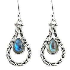 5.38cts natural blue labradorite 925 sterling silver dangle earrings p5795