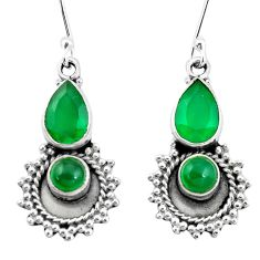 6.26cts natural green chalcedony 925 sterling silver dangle earrings p5812