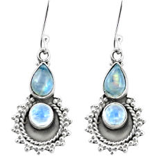 6.26cts natural rainbow moonstone 925 sterling silver dangle earrings p5815