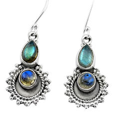925 sterling silver 6.26cts natural blue labradorite dangle earrings p5817